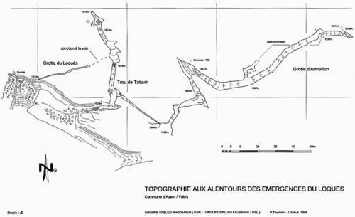 Topographie des Grottes du Loquès (Rawyl)